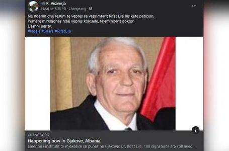 """Peticion: Qendra Kombëtare e Mjekësisë së Punës të emërtohet """"Dr. Rifat Lila"""""""